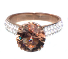 Oregon Copper-Bearing Sunstone with Schiller & Diamond 18K Ring