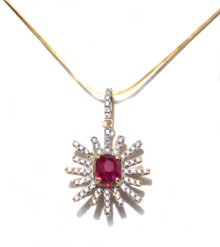Untreated Ruby & Diamond Sunburst Pendant with Chain