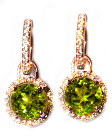 Peridot & Diamond 18K Dangle Earrings