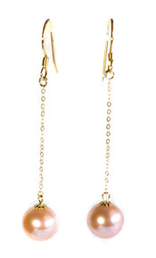 Pink South Seas Pearl & 18K Gold Dangle Earrings