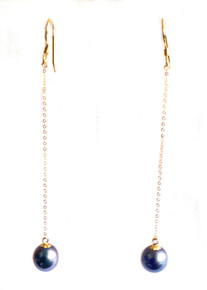 Black Tahitian Pearl & 18K Gold Dangle Earrings