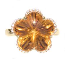 Fancy Cut Citrine & Diamond Flower Ring