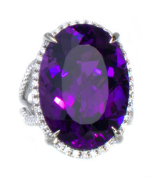Rare Uraguayan Amethyst & Diamond Ring
