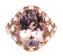 7.5 ct Pink Morganite & Diamond 18K Art Deco Ring