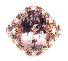 7.5 ct Pink Morganite & Diamond 18K Art Deco Ring