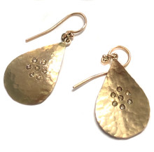Hammered 18K Yellow Gold & Diamond Dangle Earrings