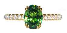 Rare Demantoid Garnet & Diamond 18K Ring