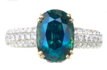 Teal Sapphire & Diamond 18K Ring