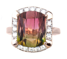 Bicolor Tourmaline & Diamond 18K Ring