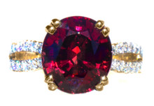 Rare Color Shift Garnet & Diamond 18K Ring