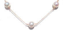 Akoya Pearl Station Necklace in 18K