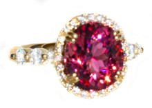 Rare Pink Paraiba Tourmaline & Diamond Ring