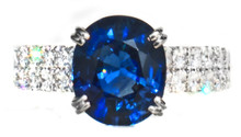 Kashmire Blue Sapphire & Diamond 18K Ring
