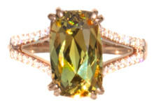Rare Mali Garnet & Diamond 18K Ring
