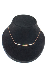 Curved Bar Necklace in 18K Rose Gold with Diamonds