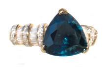 Rare Trillion Indicolite Tourmaline & Diamond 18K Ring