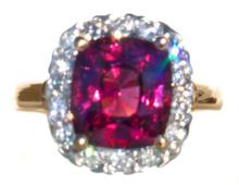 Raspberry Garnet & Diamond 18k Ring