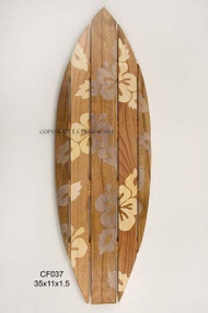 Surfboard Hibiscus Wooden Wall Art