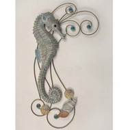 Carved Seahorse with Metal - Wall Hanging