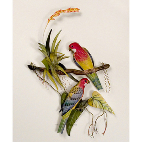 Tropical rosellas on a branch metal wall hanging for Tropical metal wall art