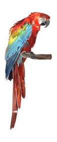 Red Parrot Metal Wall Art Refraxions 3D