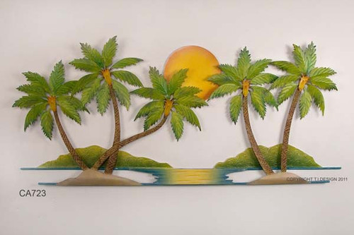 Palm Tree Metal Wall Art coconut palm tree oasis metal wall art