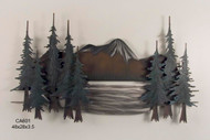 Smokey Mountains Pine Tree Grove Metal Wall Artwork