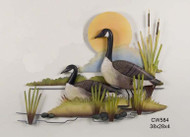 Canadian Geese Pair by Lake