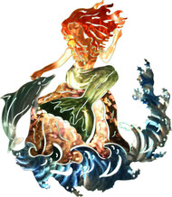 Mystical Mermaid and Dolphin Metal Wall Art