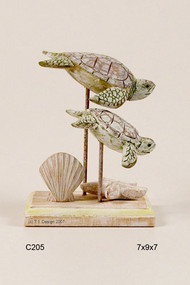 Washed Wooden Sea turtles