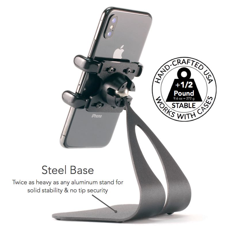 iPhone Steel Base 1/2 Pound -Twice as heavy as any aluminum stand for solid stability & no tip security