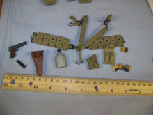 Miniature 1/6th Scale US WW2 Cloth M1936 Cartridge Belt, 45 Pistol w/Holster & More