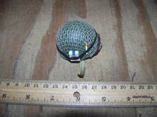 Miniature 1/6th Scale WWII US Netted Helmet w/cigerette & Pack