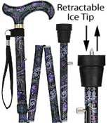 ICE CANE Purple Majesty Adjustable FOLDING Designer Derby with Retractable Ice tip R80154