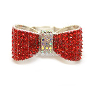 Rhinestone Bow Tie Ring- Red