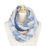 Floral Print Infinity Scarf - Blue