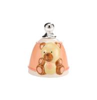 Pink Bear Porcelain & Silver Bell