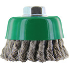 """6"""" x .020"""" x 5/8-11 Twist Knot Cup Wire Brush (Stainless Steel)   Lessmann 488838"""