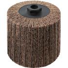 4 x 4 x 5/8-11 In. Threaded Interleaf Flap Wheel Drum / Roll   Medium / 80 Grit   Wendt 323452