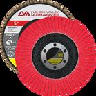 "5"" x 7/8"" Ceramic High Density Flap Disc Type 27 Flat | 120 Grit T27 | LVA CFFAS50J120CP"