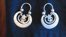 Mayan Antique Silver Earrings #30