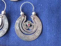 Mayan Antique Silver Earrings #36