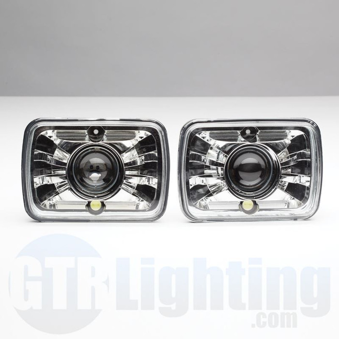 "GTR Lighting Tru-Projector Dual Beam 7x6"" H6054 Chrome Headlight Housing"
