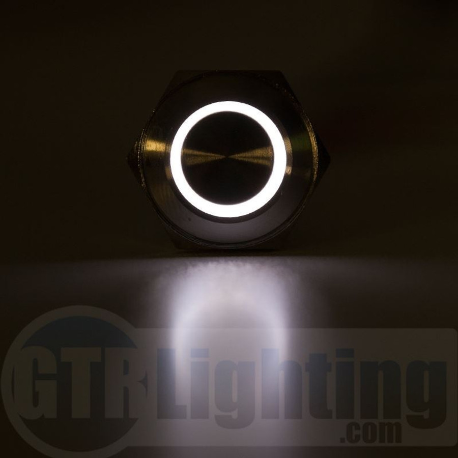 GTR Lighting LED Halo Switch: Stainless Steel Bezel, Momentary Switch