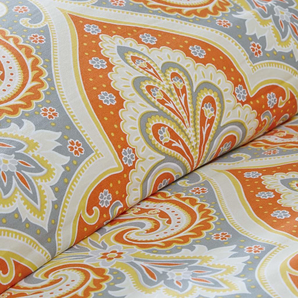 Orange Amp Grey Updated Paisley Comforter Set And Decorative