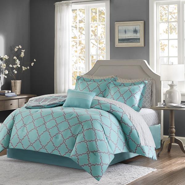 Aqua Amp Grey Reversible Fretwork Comforter Set And Matching