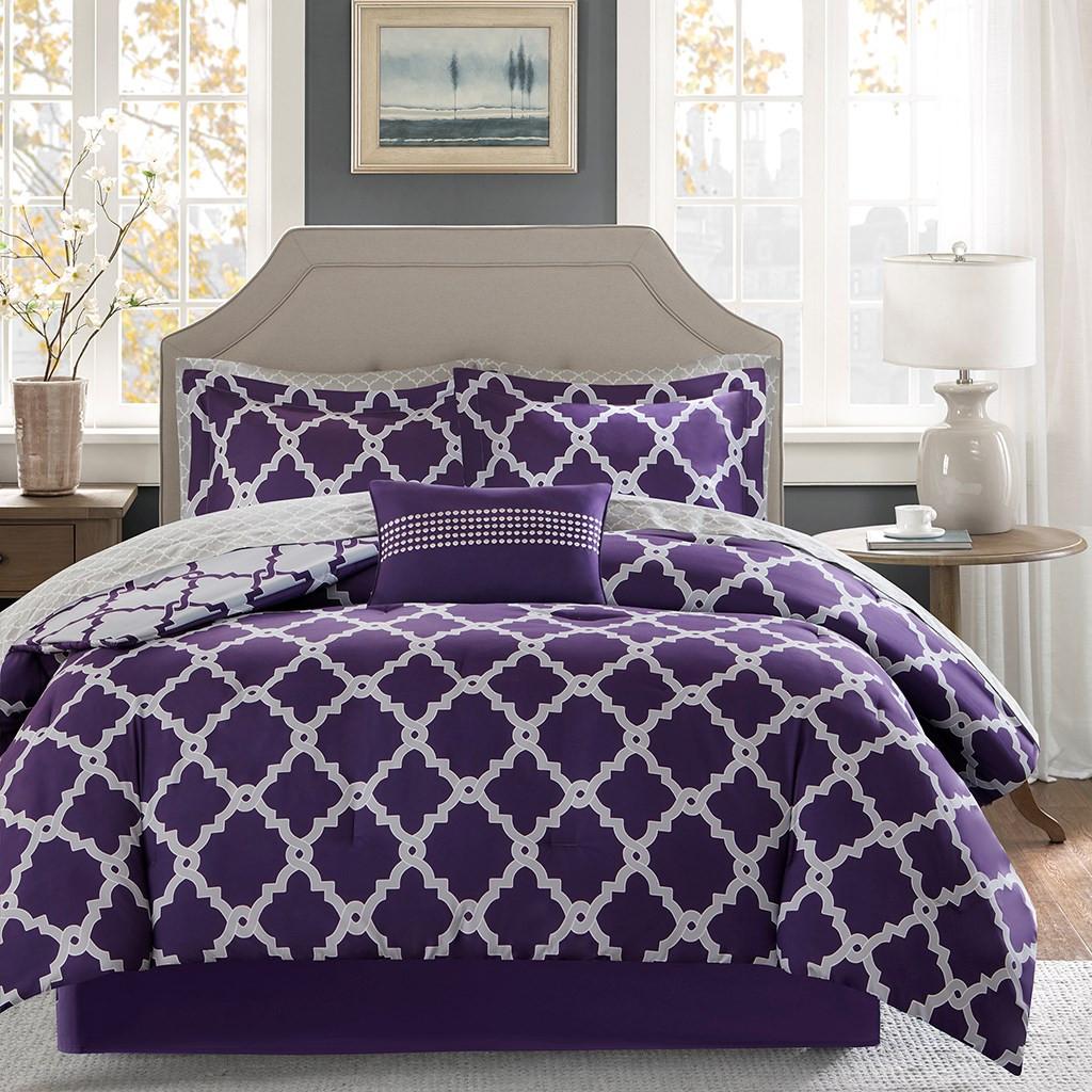 Purple Amp Grey Reversible Fretwork Comforter Set And