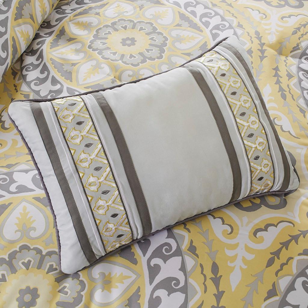 Yellow Amp Grey Oversize Medallions Comforter Set And