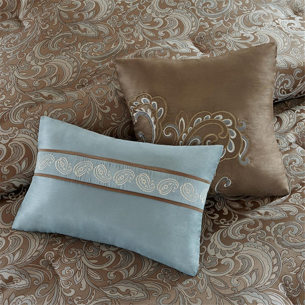 24pc Blue Amp Brown Paisley Comforter Set Sheets Pillows