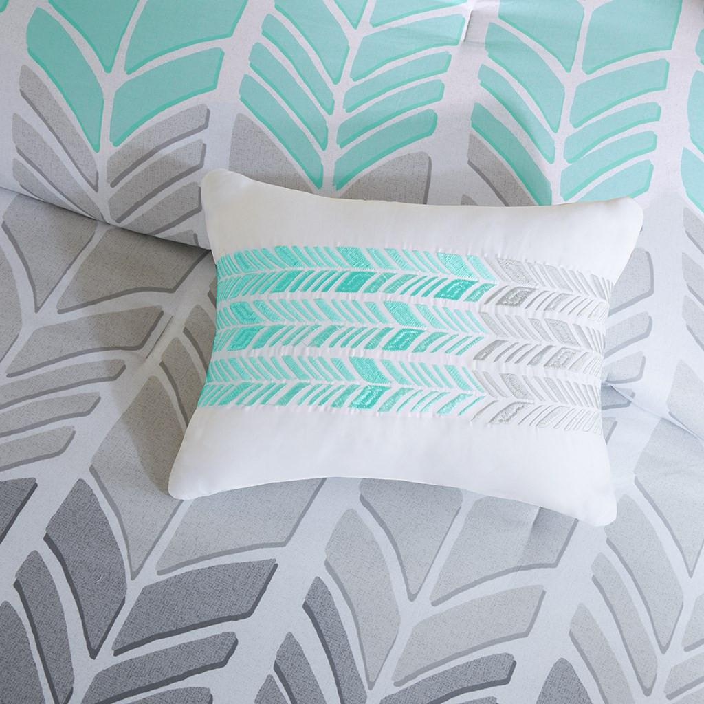 Aqua Blue Grey Amp White Geometric Chevron Comforter Set And
